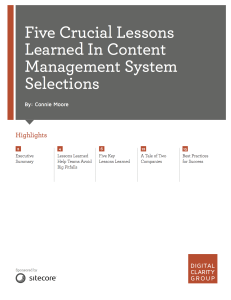 Five Crucial Lessons Learned in Content Management System Selections