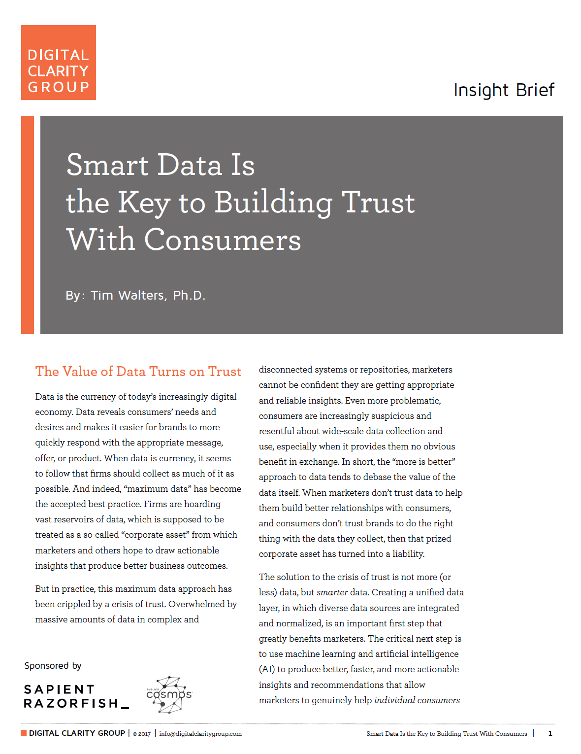 Cover of the report entitled Smart Data is the Key to Building Trust with Consumers